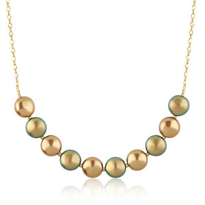 Swarovski Green And Gold Coin Pearl Necklace For Kids & Teens