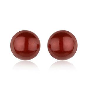 Bordeaux Button Pearl Hypoallergenic Earrings - ijeweled