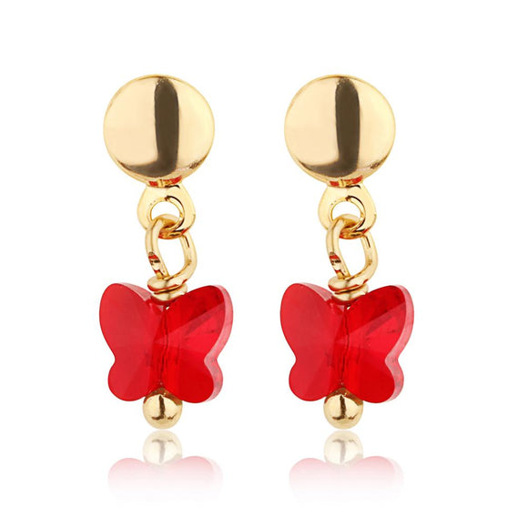 Red Butterfly Crystal Earring - ijeweled