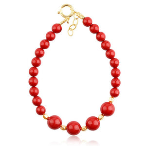 Red Coral And Bead Bracelet - ijeweled