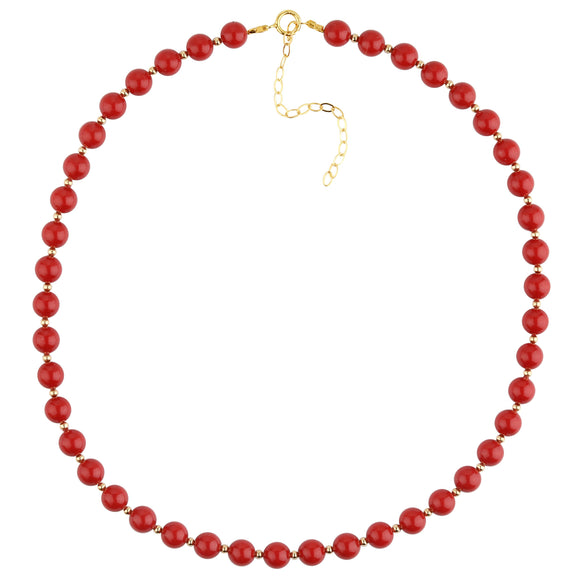 Red Coral And Gold Bead Necklace - ijeweled