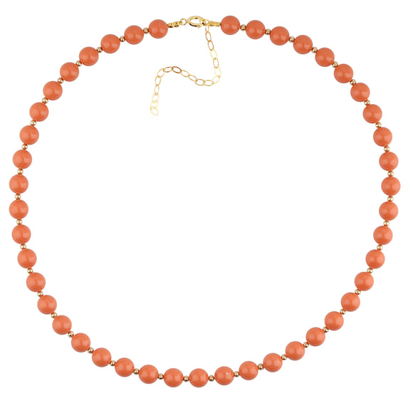 Coral And Gold Bead Necklace - ijeweled