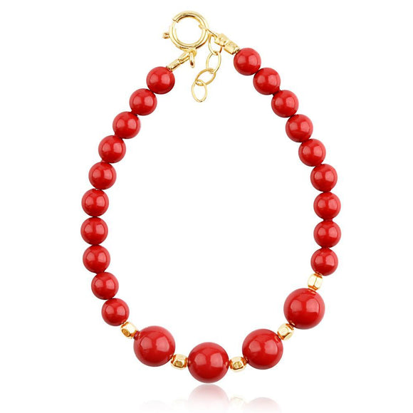 Bracelet - Swarovski Red Coral And Bead Baby Bracelet