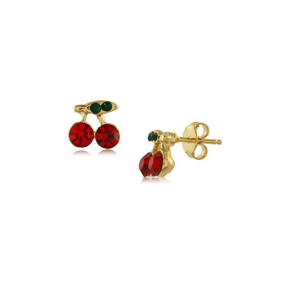 Earring - Cherry Crystal Hypoallergenic Stud Baby Earrings