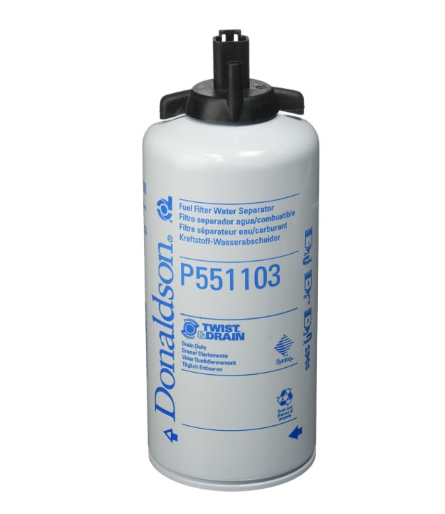 P551103 Donaldson Fuel Filter, Water Separator Spin-On Twist&Drain
