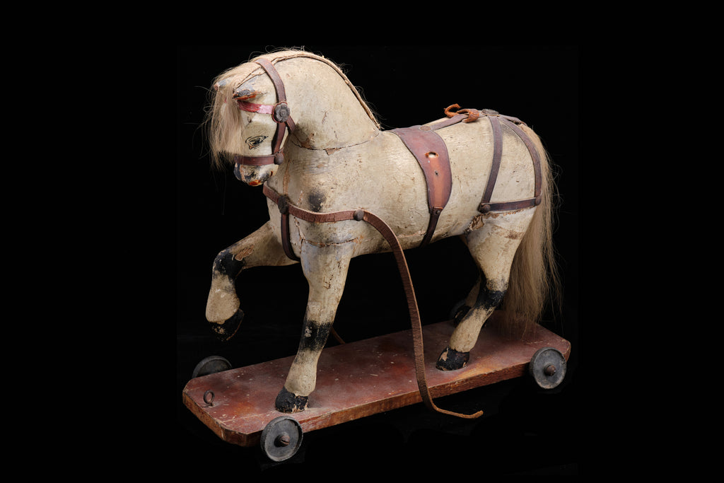 Victorian Papier Mache Pull Along Horse Toy.    SOLD