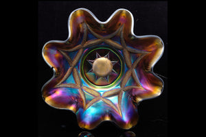 "Carnival Glass Comport ""Starfish Pattern""."