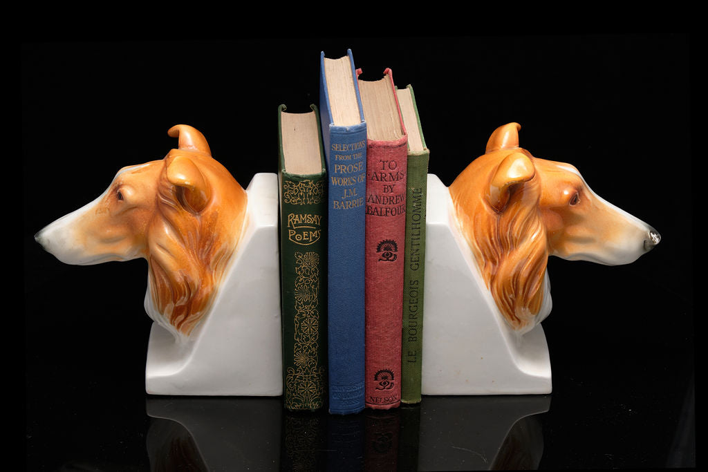 Mid Century Collie Dog Bookends.