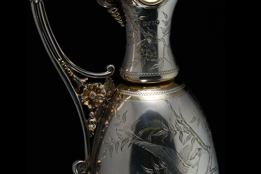 Victorian Sterling Silver and Parcel Gilt Wine Ewer.