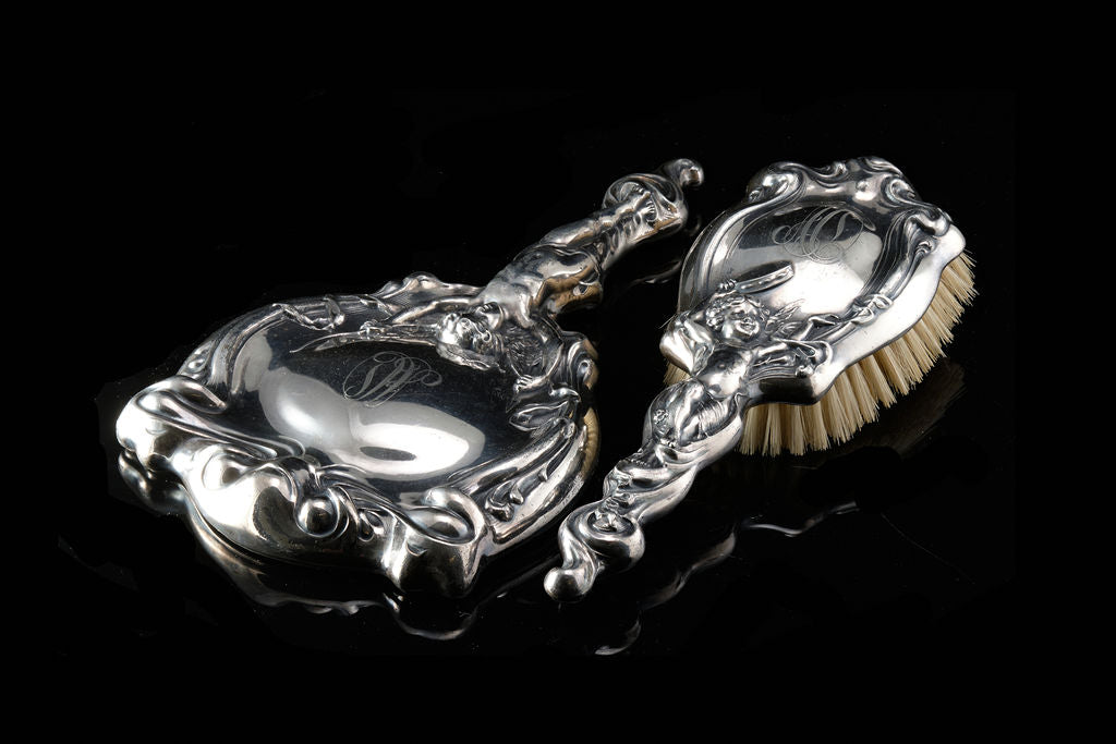 Victorian Sterling Silver Mirror and Brush Set. SOLD.
