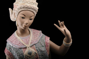 Lladro Kneeling Balinese Dancer in Gres Finish.