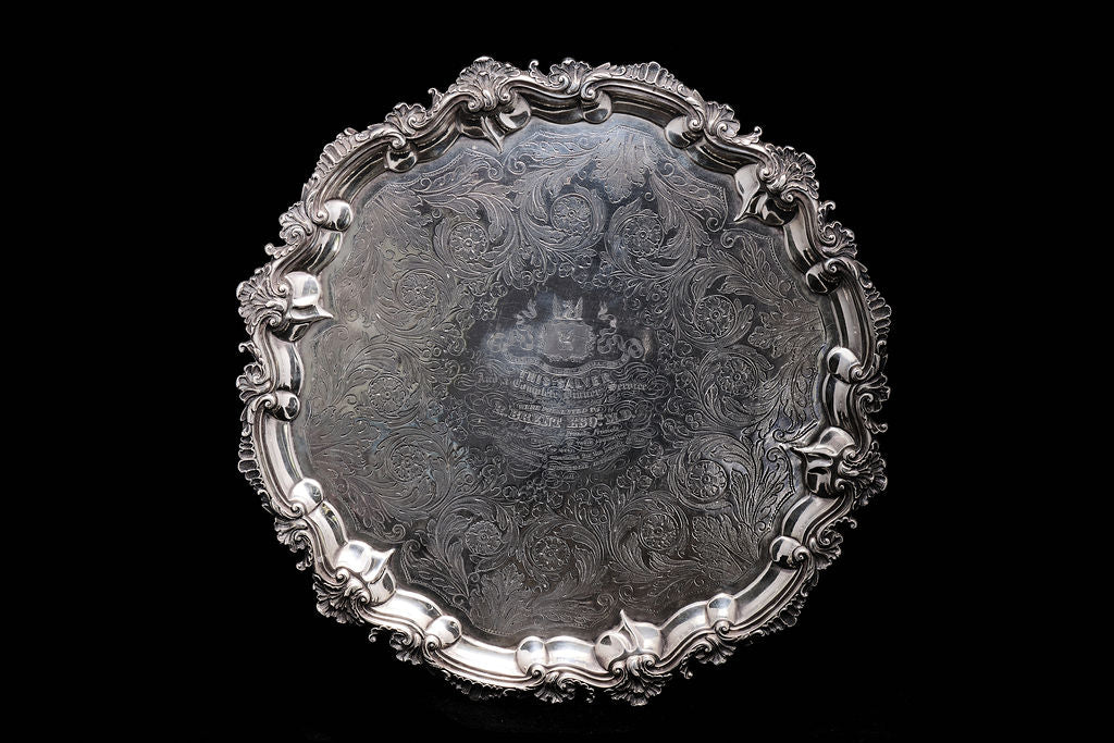 Early Heavy Victorian Sterling Silver Salva.