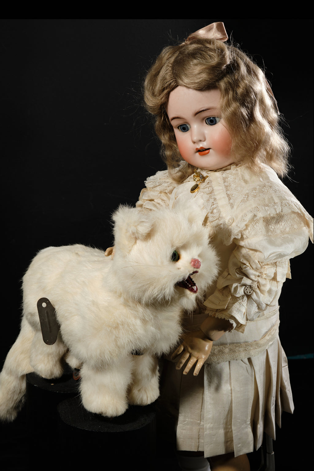 Simon & Halbig Antique Porcelain Doll with Windup Toy Cat.  SOLD