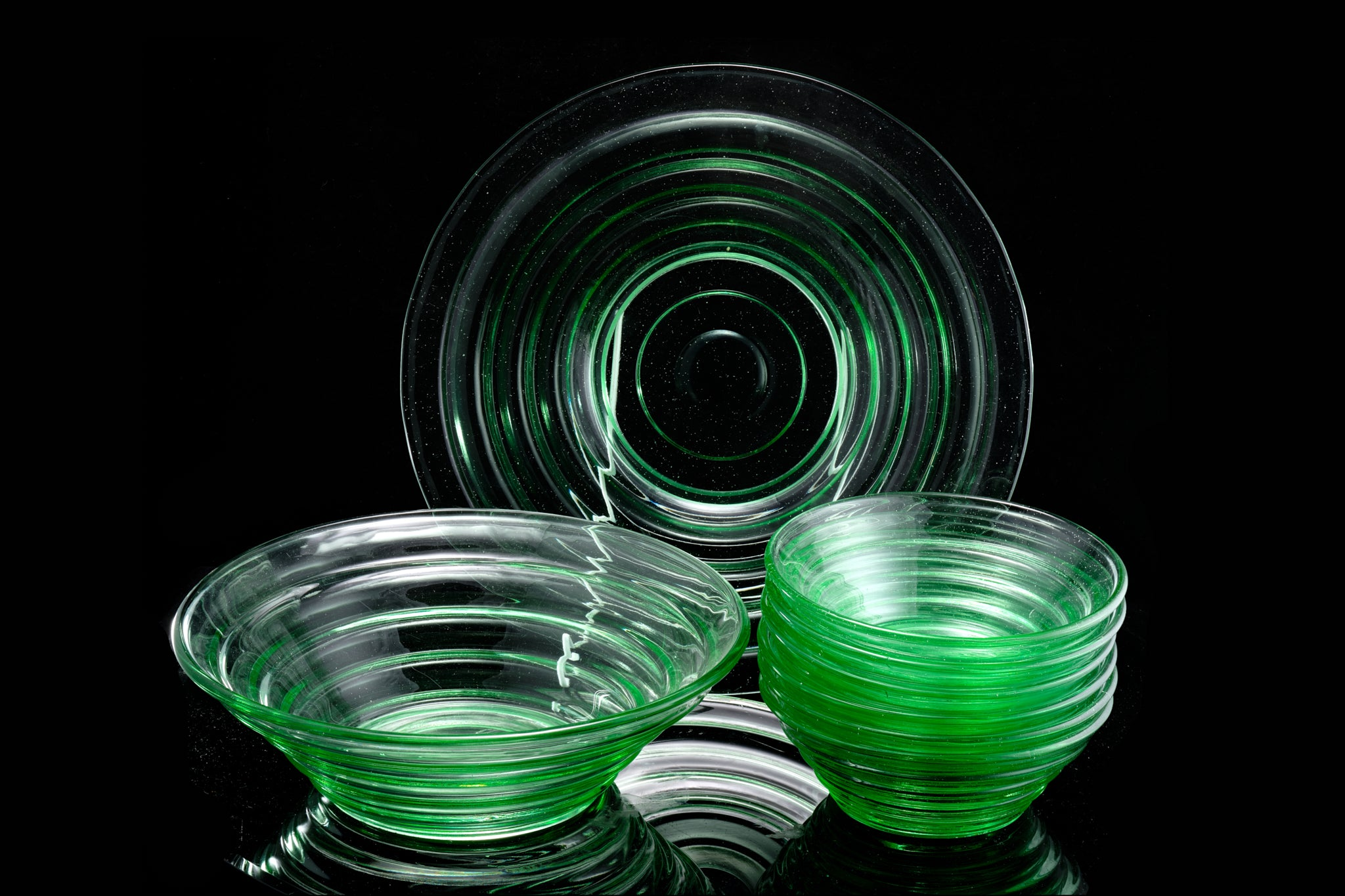 Art Deco Green Dessert Service.