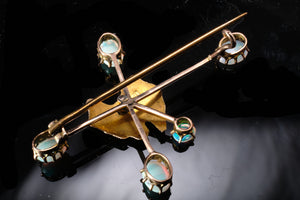Edwardian Australian Opal and Gold Bar Brooch.   SOLD