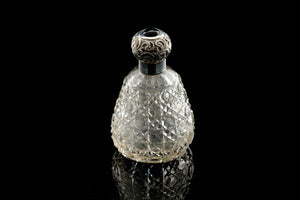 Victorian Perfume Bottle with Sterling Silver Top.