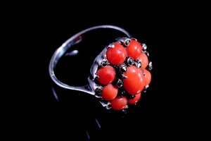 Vintage Sterling Silver, Coral and Diamante Ring