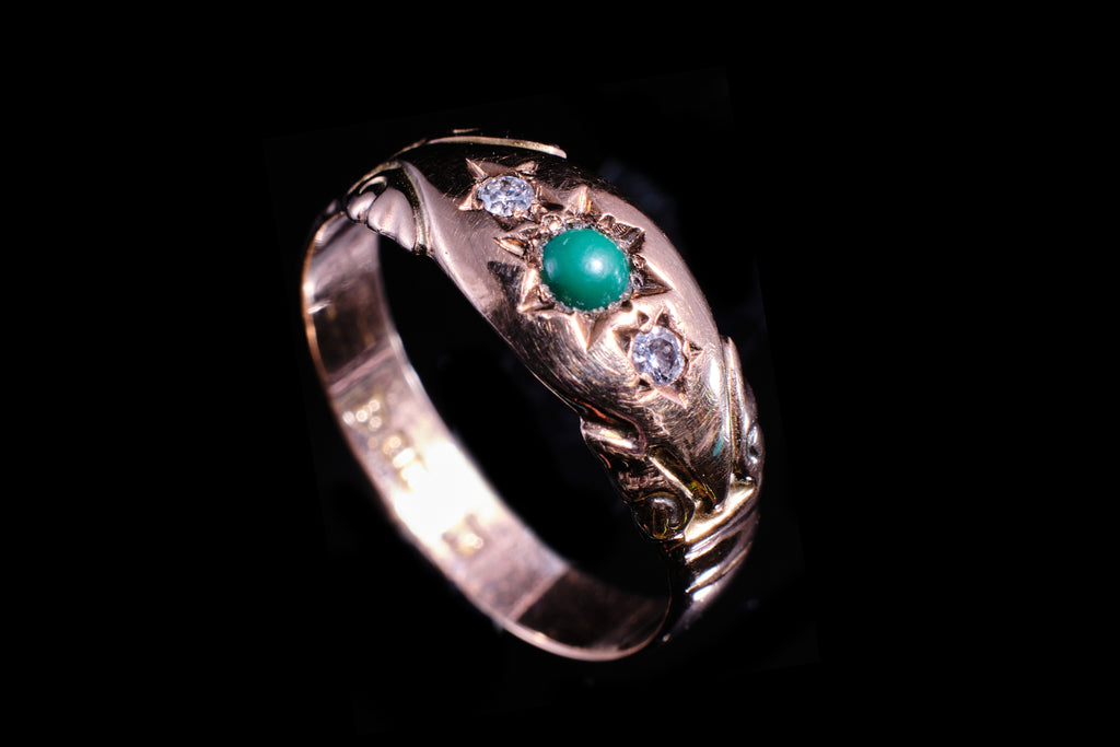 Edwardian Diamond and Cabachon Turquoise Ring.   SOLD