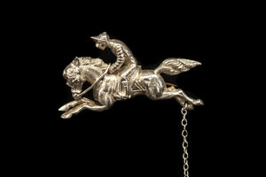 Sterling Silver Horse and Jockey Brooch
