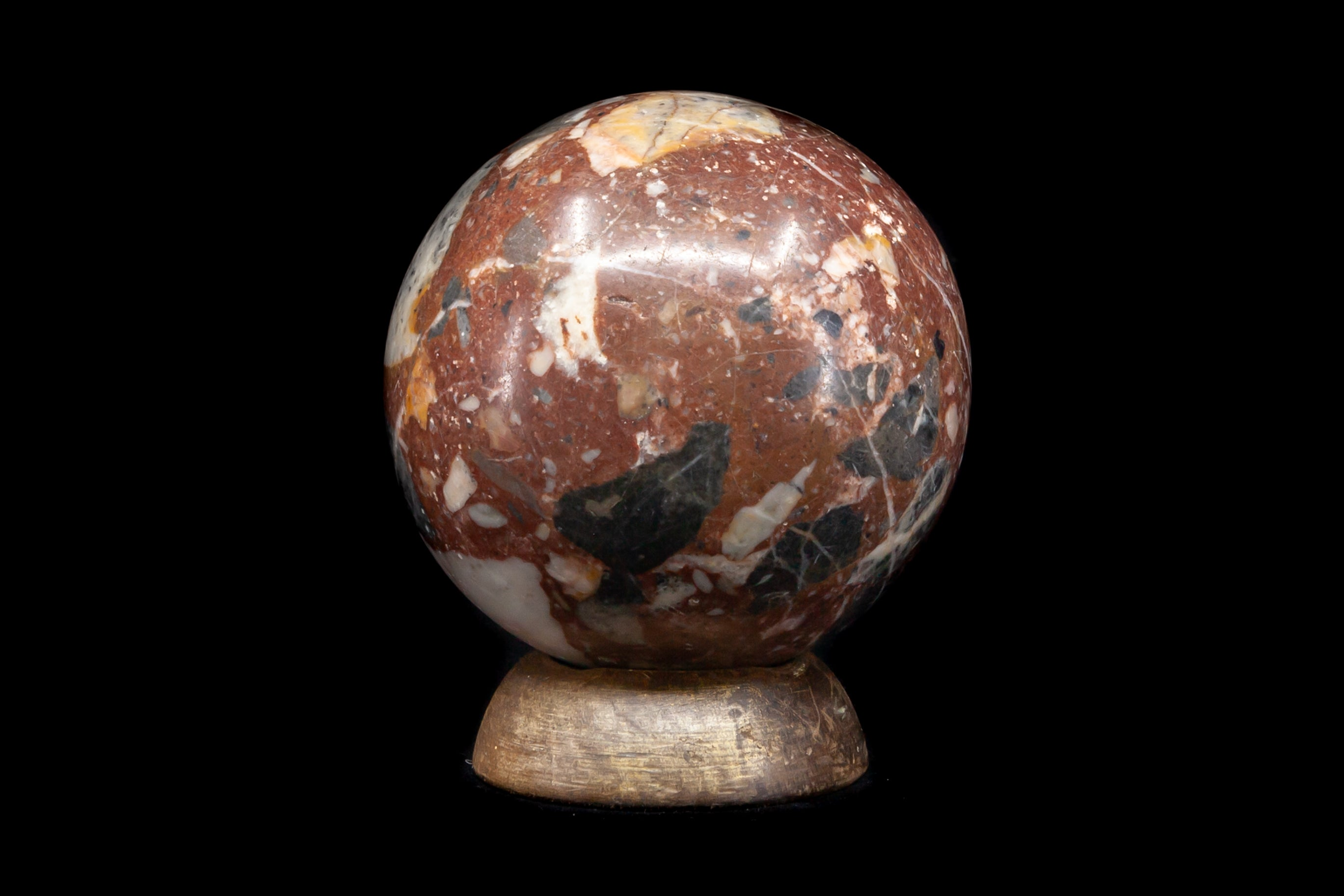 Victorian Marble Ball Paperweight on Wooden Stand