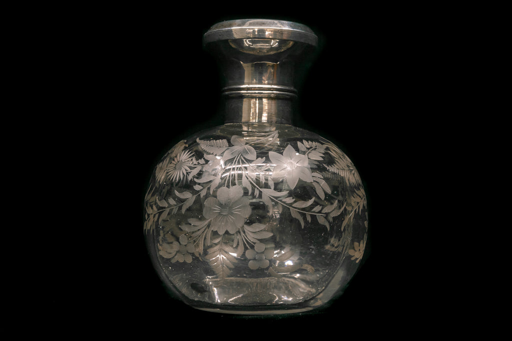 Sterling Silver Topped Edwardian Perfume Bottle