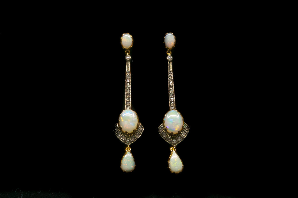 18ct Diamond and Opal Earrings. SOLD