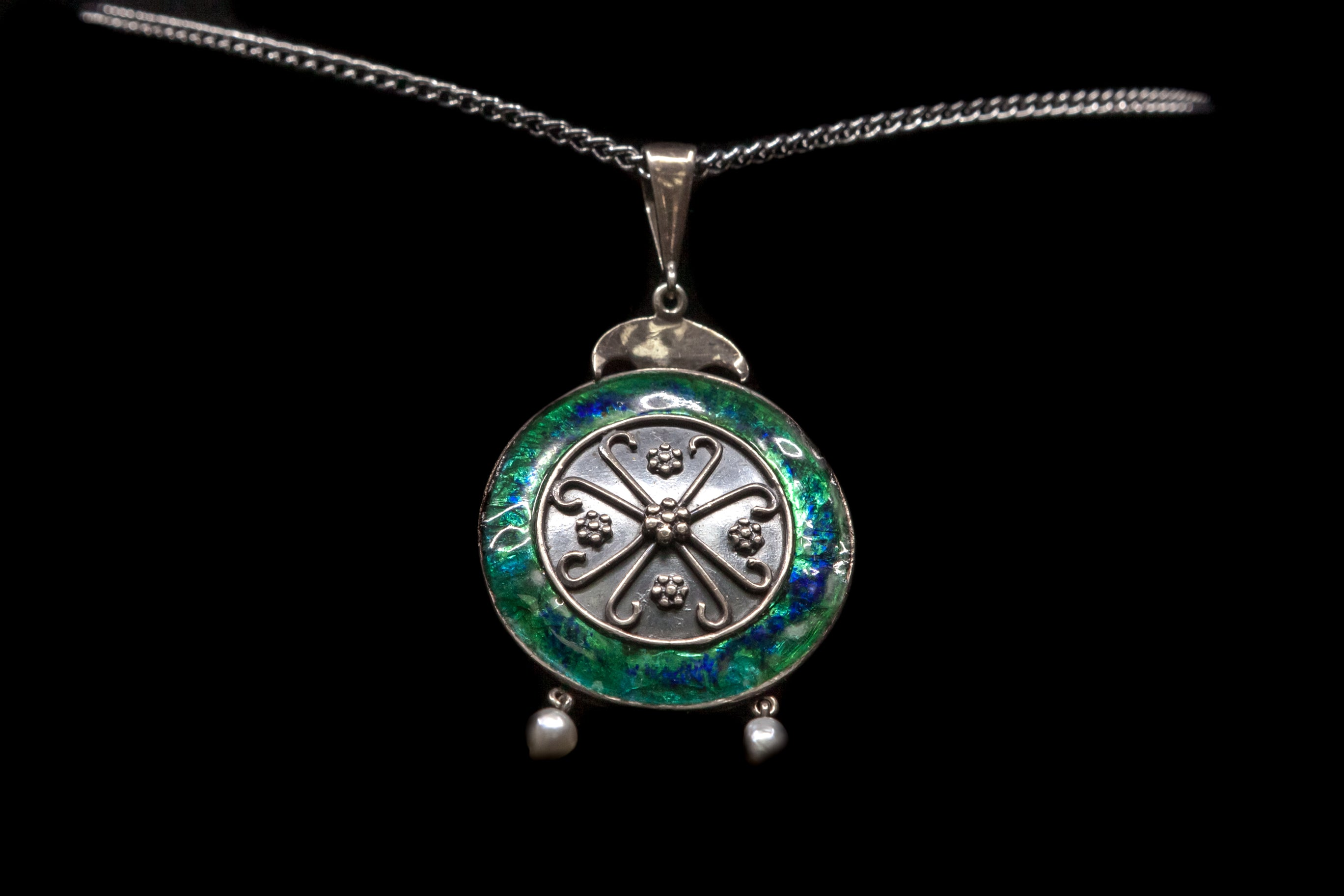 C1920 Sterling Silver and Enamel Pendant.