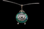 Sterling Silver and Enamel Art Deco Pendant