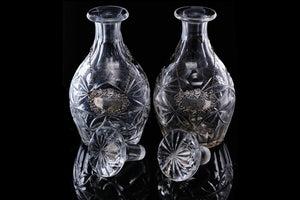 Pair of Early Victorian Decanters with Sterling Silver Label.