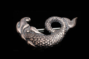 Vintage Sterling Silver Brooch in the Shape of a Fish.   SOLD