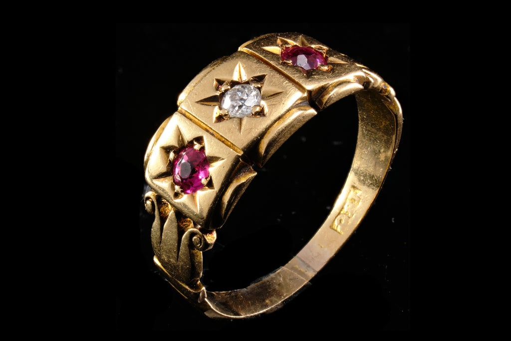 Edwardian Gold, Ruby and Diamond Ring.