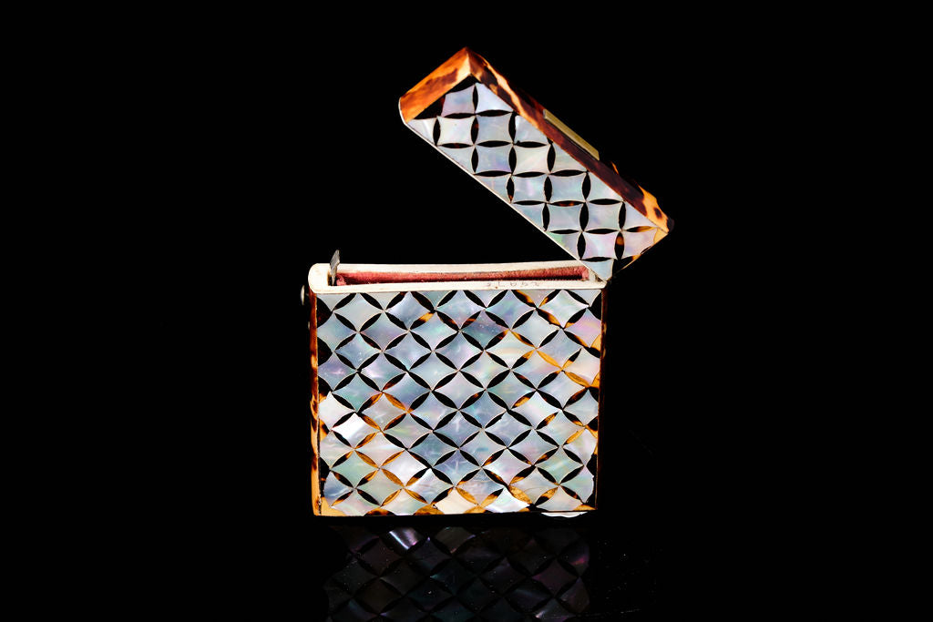 Victorian Mother of Pearl and Tortoishell Visitors Card Case.