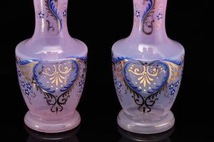 Victorian Glass Vases with Handpainted Decoration.  SOLD