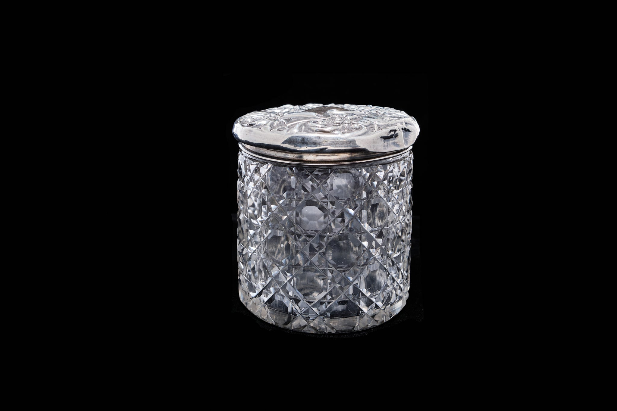 Victorian Trinket Pot wit a Sterling Silver Lid.
