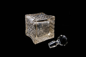 Victorian Perfume Bottle with a Silver Collar.