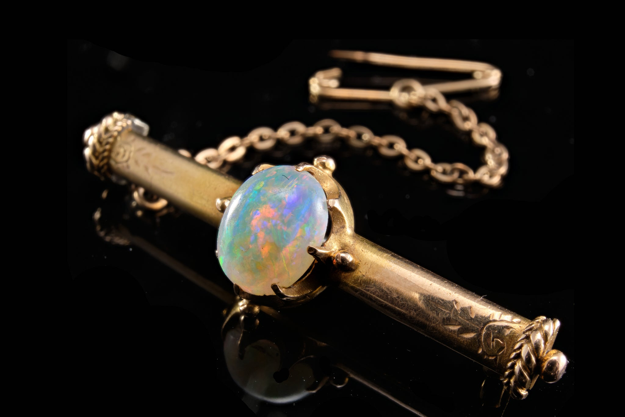 Victorian Opal and Gold Bar Brooch.