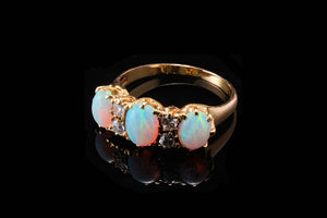 Edwardian Gold, Opals and Diamond Ring.