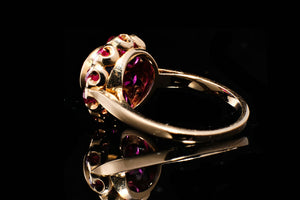Vintage Synthetic Ruby and Sapphire Ring.