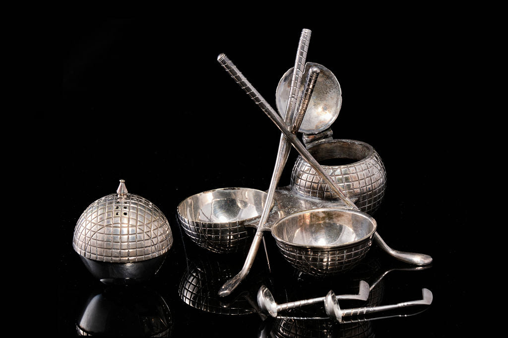 Edwardian Silver Plate Golfing Condiment Set.