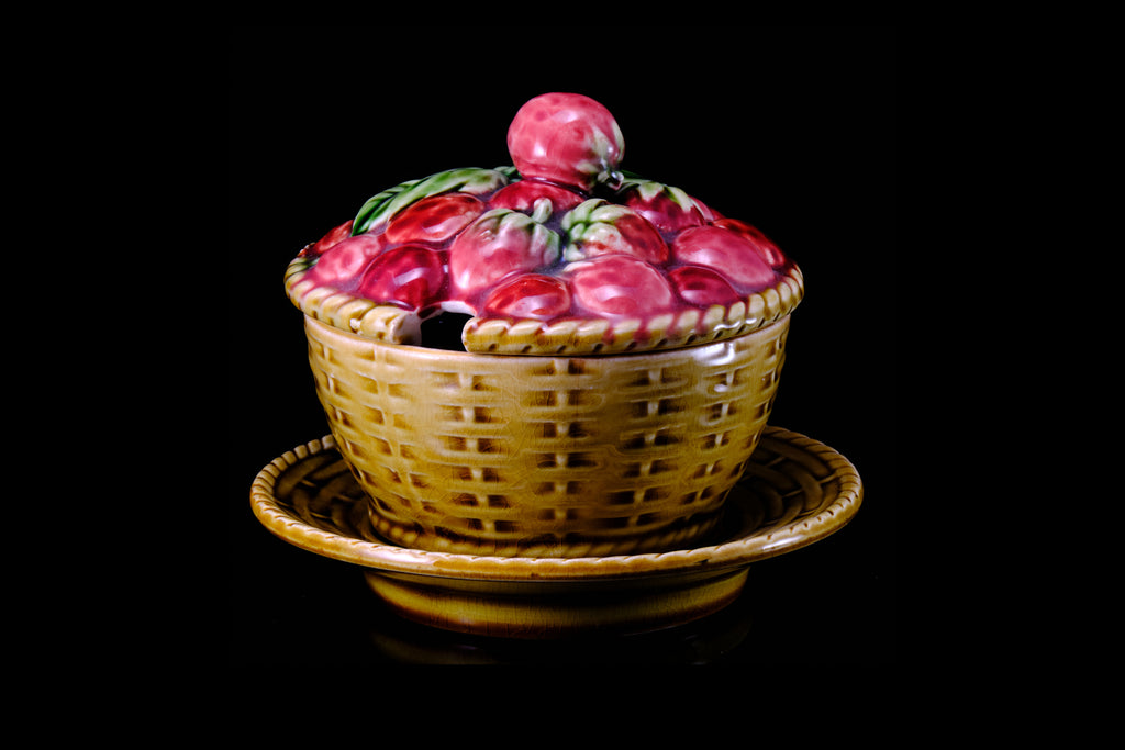Sarreguimines Majolica Strawberry Covered Pot.