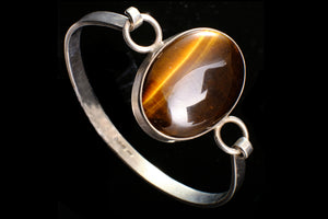 Edwardian Sterling Silver and Tigers Eye Bracelet.