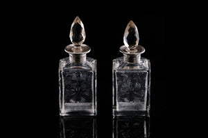 Edwardian Pair of Sterling Silver Collared Perfume Bottles.