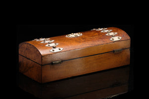 C1900 Victorian Glove Box with Ivory Strapping.