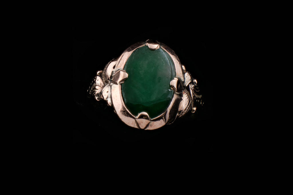 "Vintage Gold and Greenstone ""Pounamu"" Ring."