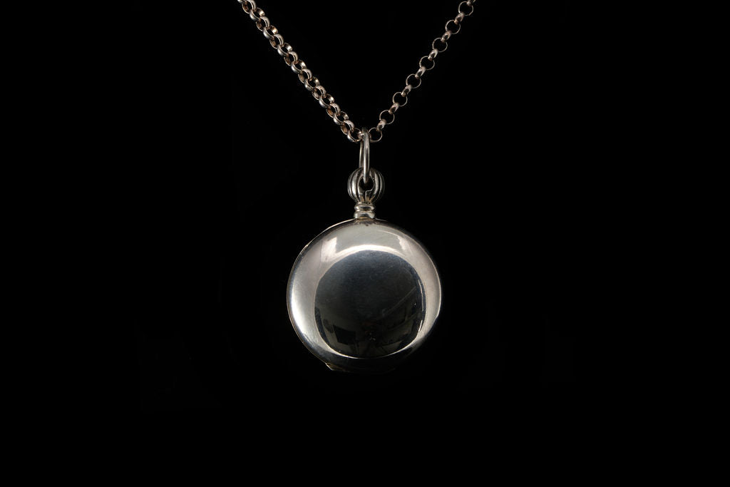 Vintage Sterling Silver Locket and Belcher Chain.