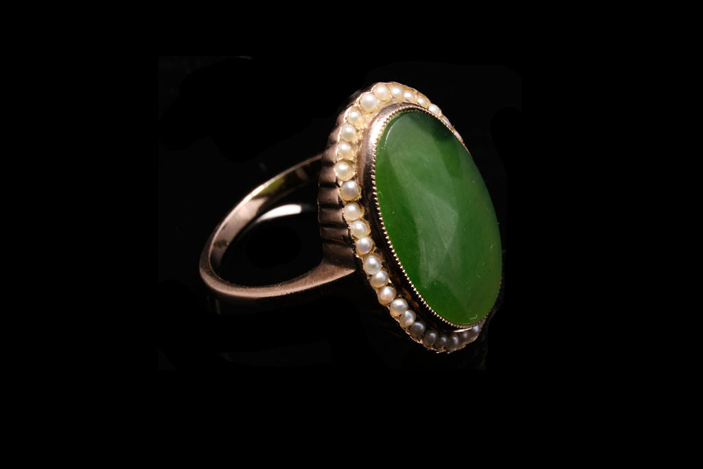 Vintage New Zealand Pounami {Greenstone} and Seed Pearl Ring. SOLD