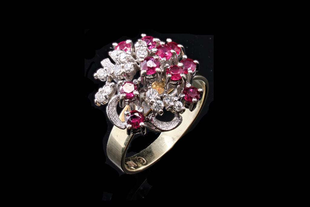 Retro Diamond and Ruby Cluster Ring.