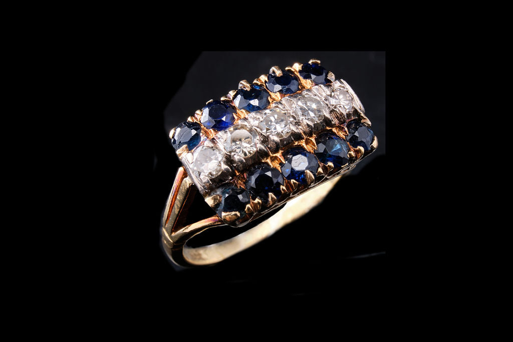 Vintage 18ct Gold, Sapphires and Diamond Ring.