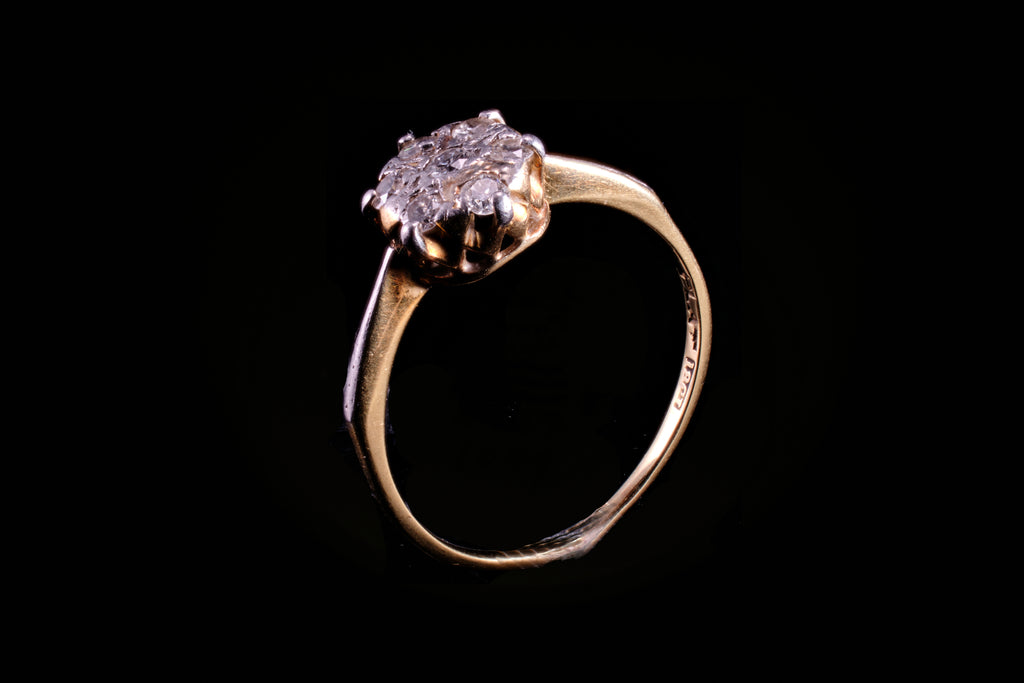 Edwardian 18ct Gold Diamond Cluster Ring.
