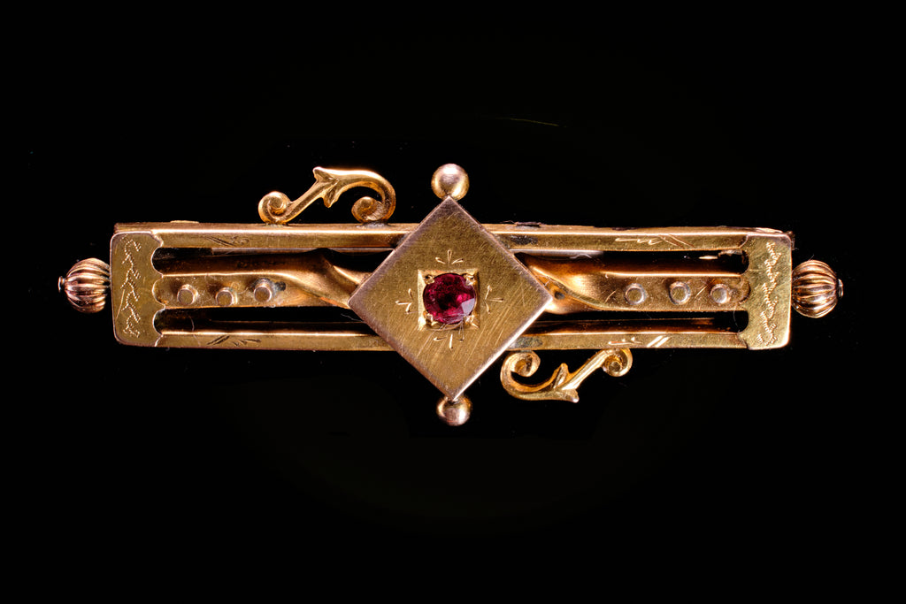 Victorian 9ct Gold and Ruby Bar Brooch.
